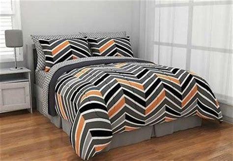 black and orange comforter zig zag neon bed in a bag bedding set chevron orange gray