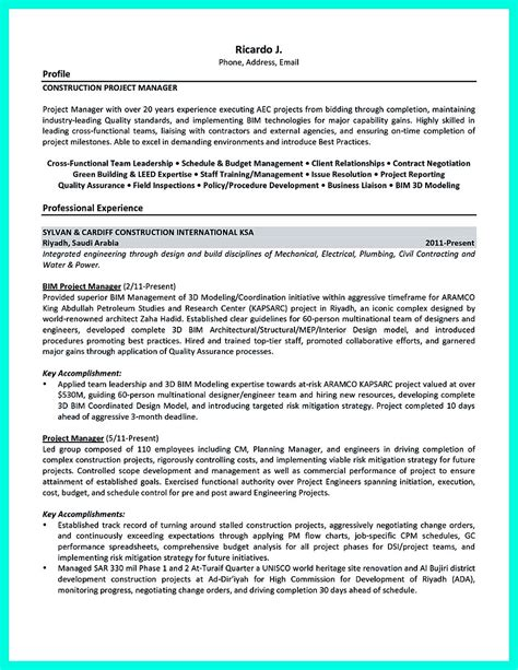 Construction Project Manager Cv by Construction Manager Resume To Get Approved