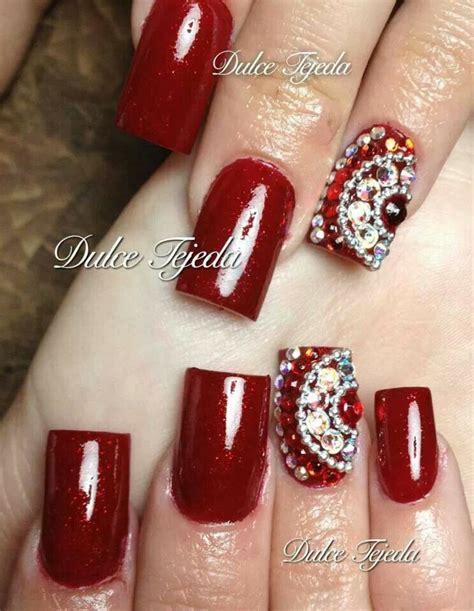 imagenes de uñas decoradas en rojo 2015 u 241 as rojas con un toque de bling est 233 tica kary