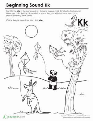 Beginning Sounds Coloring Sounds Like Kite Worksheet