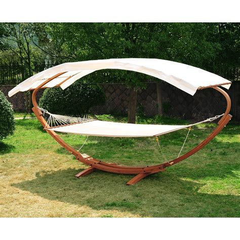 swinging hammock bed outsunny wooden hammock arc stand swing bed aosom ca