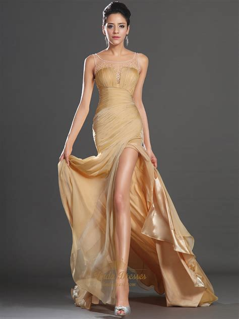 gold beaded prom dress gold chiffon sleeveless high split prom dress with beaded