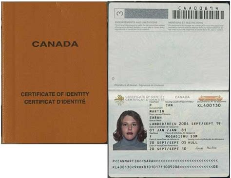 canadian passport template certificates of identity