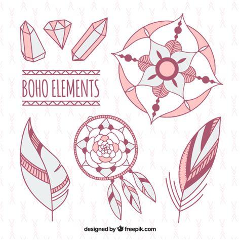 Edelstenen In Kleur boho elementen en edelstenen in roze kleur vector