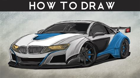 how to draw a car bmw i8 step by step easy how to draw a bmw i8 gt3 step by step drawingpat