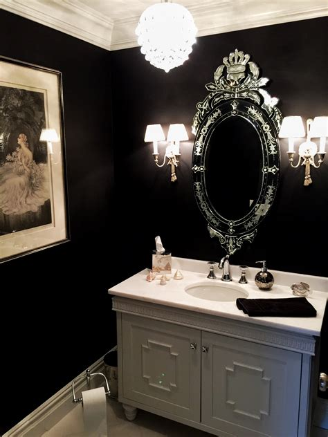 room painted black black paint powder room reversadermcream com