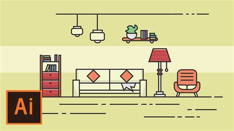 tutorial design flat illustrator tutorial living room flat design