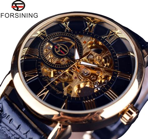 Rolex Skeleton Leather 1 aliexpress buy forsining 3d logo design hollow