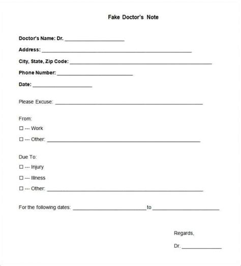 dr notes templates free 22 doctors note templates free sle exle format