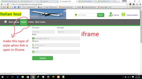 iframe background color html how to make background color green when link is