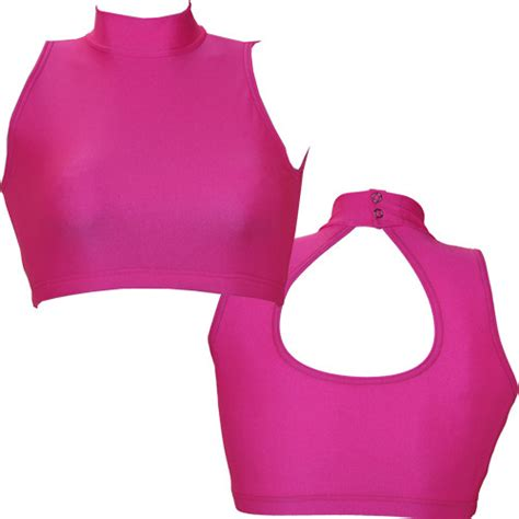 Turtle Neck Crop Top Pink neon turtle neck crop top dancemania dancewear