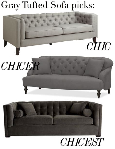 grey tufted couch shopping for sofas tufted gray the decorista