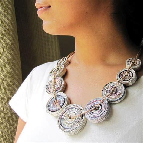 Jewellery With Paper - eco friendly jewelry made of paper clay hemp and yarn