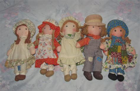 70s rag doll set of five 5 vintage hobbie rag dolls robbie