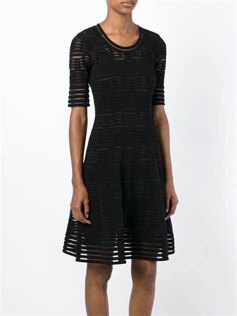 black knit dresses lyst m missoni wave knit flared dress in black