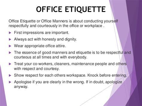 office etiquette social etiquettes