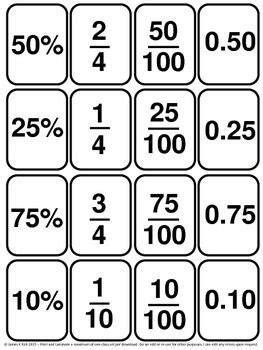 printable decimal number cards decimals cards and fractions cards 139 mini cards 1