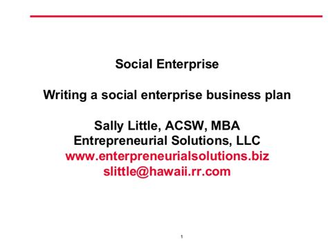 writing a socialenterprise business plan