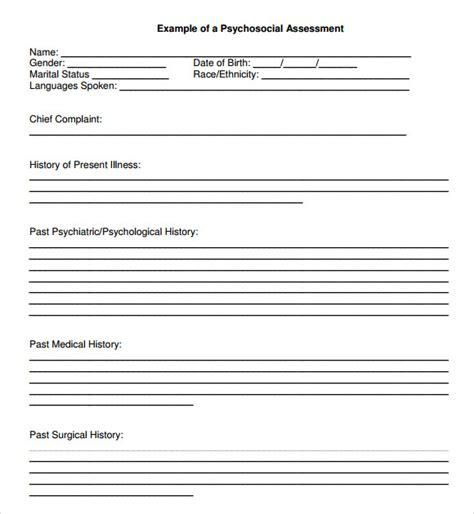 psychological study template biopsychosocial assessment 11 documents in pdf