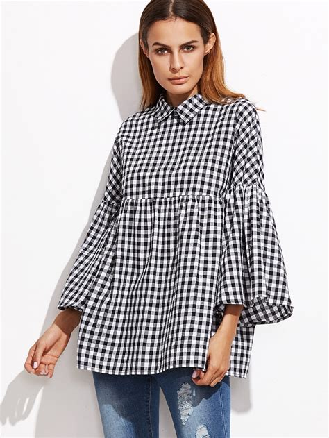 Gingham Bell Sleeve Blouse gingham bell sleeve babydoll blouse shein sheinside