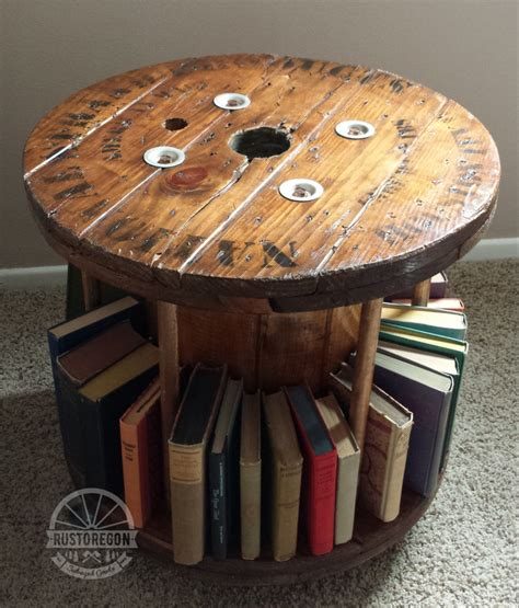 cable spool coffee table reclaimed wooden cable spool bookmobile end by
