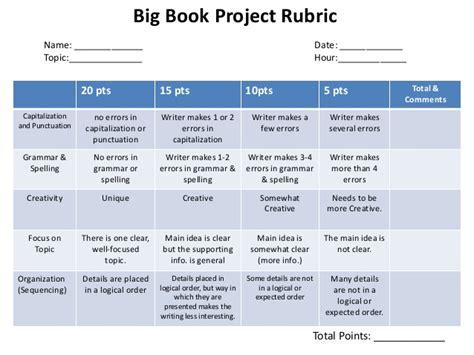 picture book rubric big book rubric