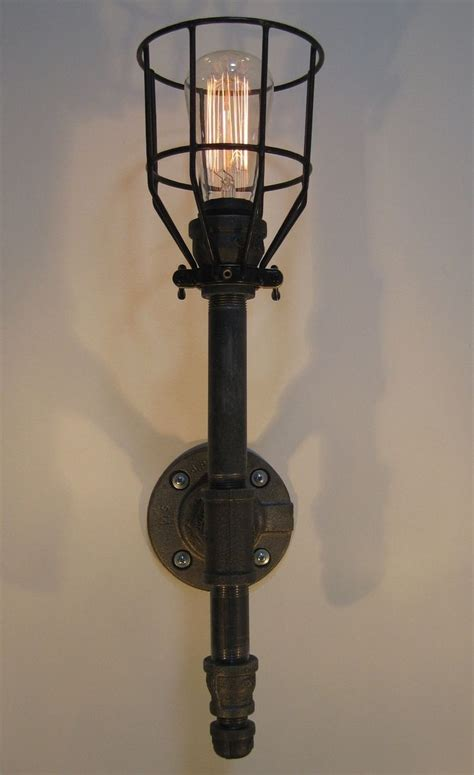 Steampunk Sconce Handmade Wall Sconce Black Malleable Iron Industrial