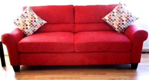 red suede sofa new darby red microfiber suede sofa with pillows in