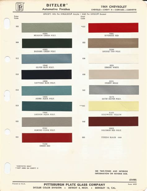 100 lucite paint color chart 1972 chevelle paint codes 1964 chevrolet corvette riverside