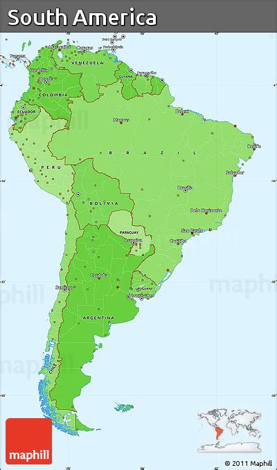south america map borders free political shades simple map of south america single