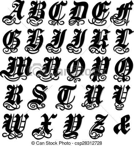 lettere in gotico alfabeto gotico completo ornamentale turbini completo