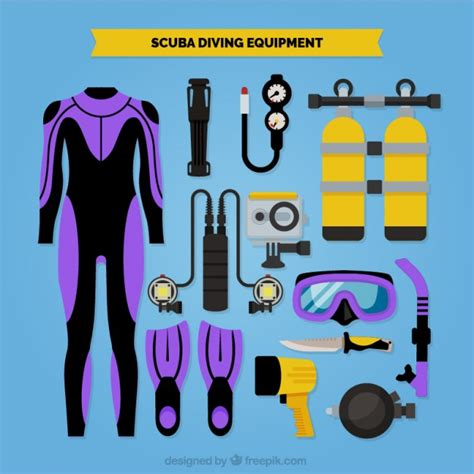 dive equipment scuba diving equipment vector free
