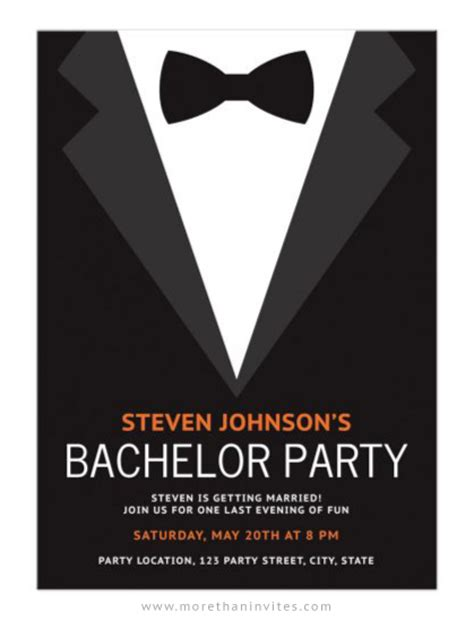 Bachelor Invitation Cards Templates by Bachelor Invitation With Black Bow Tie