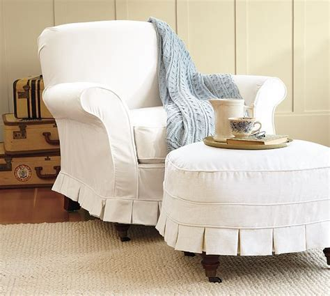 ottoman slipcovers pottery barn savannah armchairs and pottery on pinterest