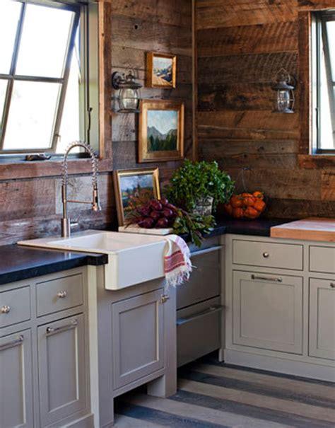 Decor style cabin wooden plank walls design charming chic kitchen