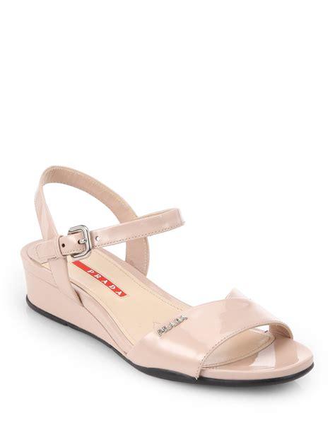 prada wedge sandals prada crisscross patent leather wedge sandals in beige