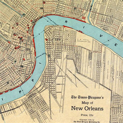map new orleans map of new orleans 1919 maps and vintage prints