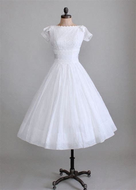 Vintage White by Vintage 1950s White Organdy Wedding Dress Raleigh Vintage
