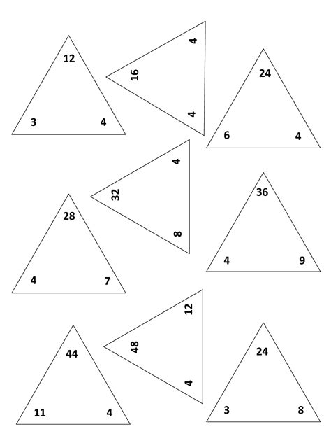 16 best images of blank triangle fact family worksheets