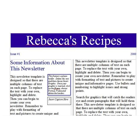 open office newsletter templates tips for creating a recipe newsletter or cooking phlet
