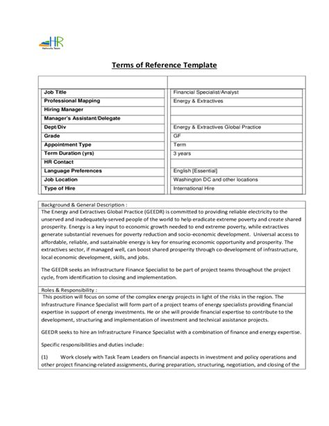 General Resume Sample Templates by Terms Of Reference Template Free Download