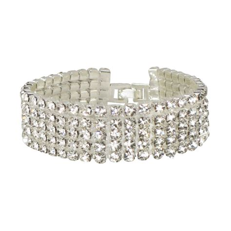 Panache 5 Row Clear Swarovski Crystal Diamante Bracelet