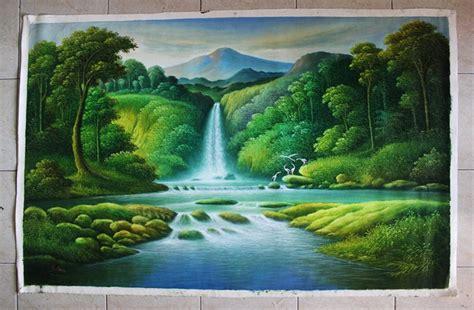 jual lukisan pemandangan hutan  air terjun