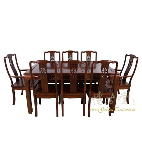 chinese antique rosewood dining table  chairs set