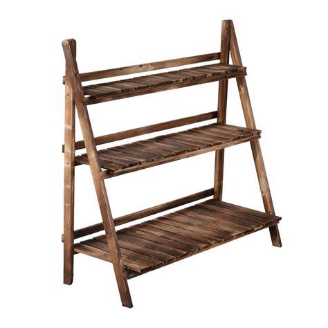 porta vasi in legno outsunny scaletta fioriera portavasi da giardino a 3