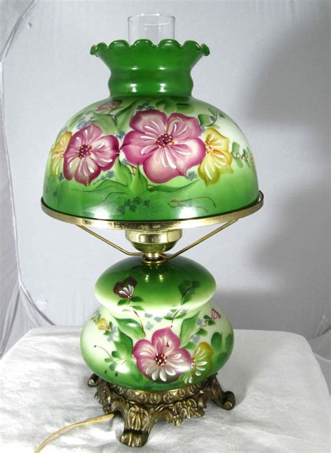 vintage floral hurricane reserved for barbvintage green glass hand painted flowers