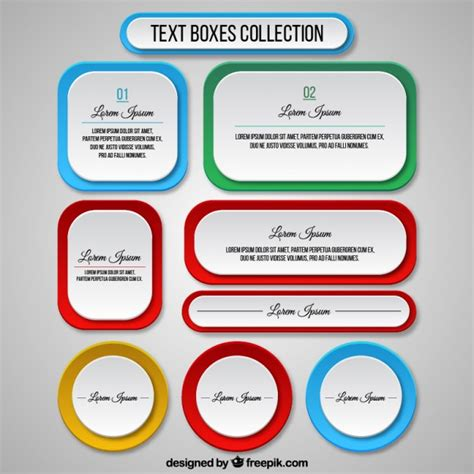 Templates For Text Boxes | text boxes template collection vector free download