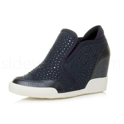 high heel wedge booties womens high heel wedge diamante low top trainers