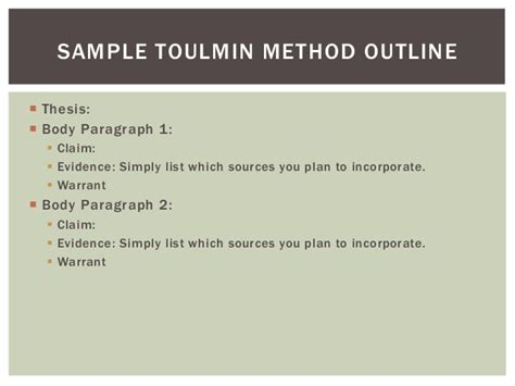 Toulmin Outline Format by An Exle Of A Toulmin Essay Awesomethesis X Fc2