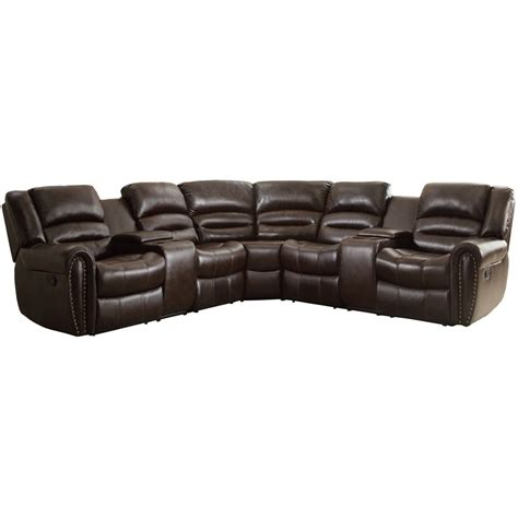 leather 3 piece sectional homelegance palmyra 3 piece leather reclining sectional in